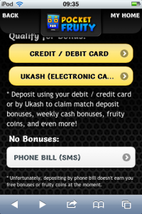 a screenshot showing mobile bingo deposit methods including pay by sms or text message