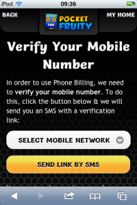 a screen shot showing how to verify mobile number to deposit to bingo account using sms / text message