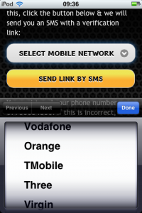 a screen shot showing how to select network when depositing to mobile bingo site using sms / text message