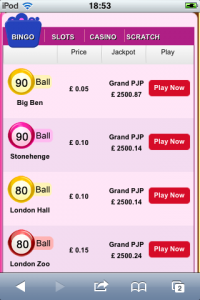 a screen shot of the bingo rooms availale at scrummy bingo mobile review