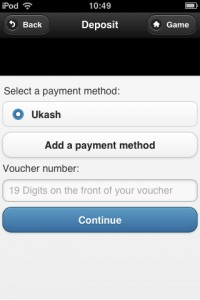 a screenshot showing how to deposit at ukash mobile bingo sites
