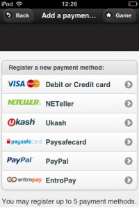 A screenshot showing a list of payment options for mobile bingo paypal sites