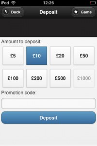 a screenshot showing how much you wish to deposit to mobile bingo paypal sites